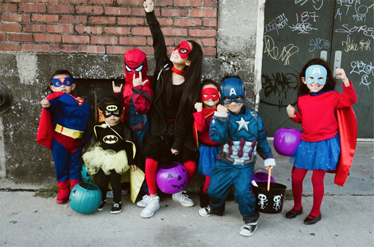Kids in costumes at Brick-or-Treat in Bricktown