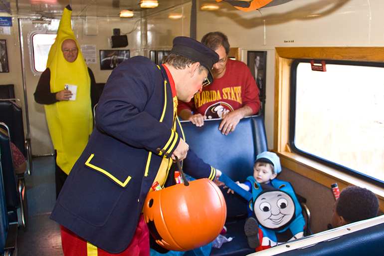 People in costume on the Halloween Train at the Oklahoma Railway Museum