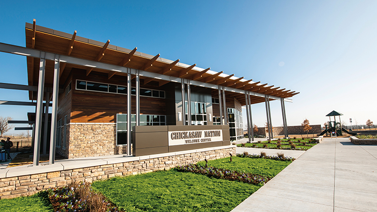 Chickasaw Nation Welcome Center building and playground