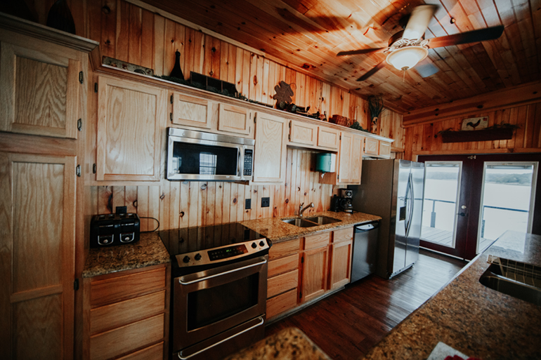Adventure Road Lake Murray Floating Cabins Kitchen